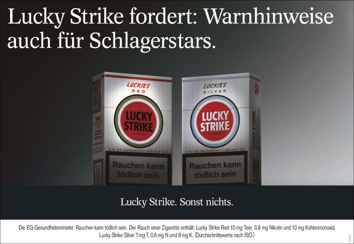 Lucky Strike fordert: Warnhinweise auch für Schlagerstars.